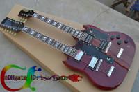 Wholesale Double Neck Guitar Mahogany - Custom Shop 12 strings 1275 Double Neck guitar red body 12 strings Electric guitar Free shipping