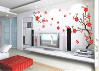 Wholesale Red Blossom Wall Decal - Red Plum Blossom Flower Removable Wall Sticker Decor Decal Room Background Art