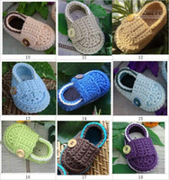 Wholesale Crochet Baby Shoes Loafers - Crochet baby shoes first walker loafers 0-12M cotton yarn customize 14pairs lot