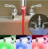 Wholesale Battery Temperature Sensor - No battery Automatic Temperature Sensor 3 Color RGB Glow Shower LED Light Water Faucet Tap