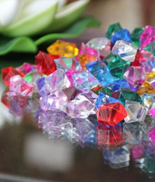 Wholesale Confetti Wholesale - 200pcs lot 25mm CRYSTAL ACRYLIC ICE VASE FILLERS Wedding Table Scatter Crystals Confetti party Decoration Gems mixed color