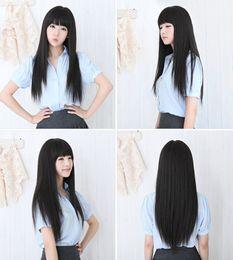 Wholesale black wig straight long bangs - 2016 New Black Womens Long Straight Full Hair Clip Wigs Cosplay Human Hair Wig Neat Bangs JF207