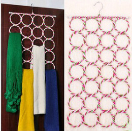 Wholesale Silk Hangers - Multifunction Colorful Eco-friendly Paper Rattan Hanger 28 Ring Scarf Rack Silk Tie Foldable Rack