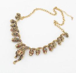 Wholesale Gold Leopard Pendant - New In Europe Style Vintage gold alloy colorful rhinestone Lots leopard Head Pendant necklaces 12pcs lot