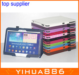 Wholesale Folding Book Holder - Leather Folio flip Case Book Stylish Cover Cases for Samsung Galaxy Tab 3 10.1 P5200 P5220 Stand Holder