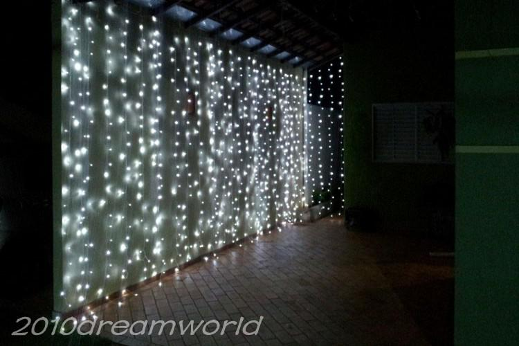6mx3m 600 Led Curtain Lights String Christmas Xmas Wedding White Warm Blue Yellow Red Pink Purple 110v 220v Light From