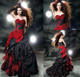 Barato Vestido De Bola De Baile De Finalistas Vermelho-Gothic Black and Red Quinceanera Vestidos Vestidos de baile 2016 Sweetheart Ruffles Satin Lace Up Back Corset Top Sixteen Prom Party Vestidos