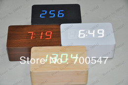 Wholesale Usb Sound Input - SVC210 Red LED Light Wood Wooden Coffee Housing Digital Sound Activated Alarm Clock DC Input   USB + Temperature No.B