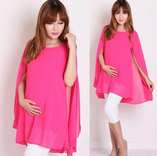 Cute maternity dresses Maternity clothing Fashionable Dress Pregnant women pink Cloak Chiffon Dress maternity dress t-shirts Retail sales