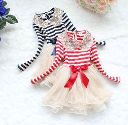 Wholesale Dress Stripe Tutu Skirt - Red Blue 31001 Girl Dresses Children Clothes Girl Stripe Gauze Long Sleeve Princess Skirt Fashion Dresses