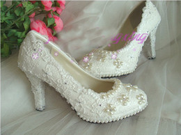 Sexy Dentelle Plate-Forme Talons hauts Clubs Round Toe Pompes Robe Chaussures De Mariage Chaussures De Mariée Femme Plus La Taille Chaussures
