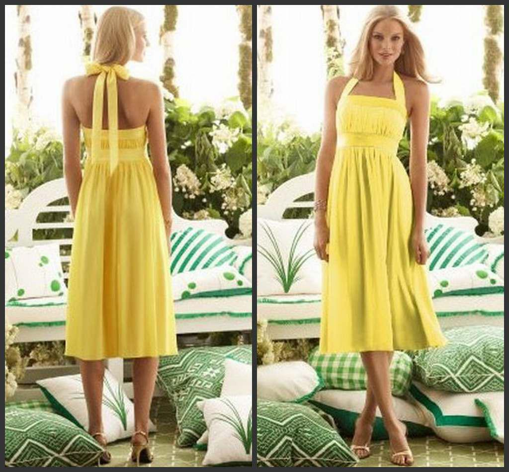 Cheap short bridesmaid dresses hot sales halter yellow chiffon see larger image ombrellifo Choice Image