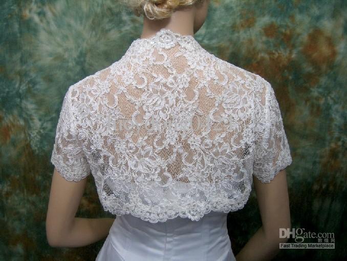 Ivory Cap Sleeve Bridal Shrug Alencon Short Sleeve Lace Bolero Wedding Bolero Jacket