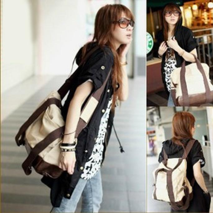 Women Korean Canvas Leather Handbag Backpack Satchel Shoulder Bag ...