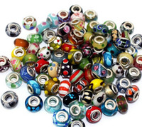 Wholesale Hole European Charms - Brand New Mix Styles Glass 925 stering cord big hole loose beads fit European pandora jewelry Diy bracelet charms 50pcs per lot