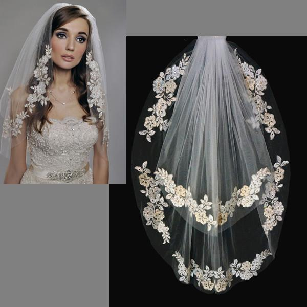 Vintage Bridal Wedding Veil Elbow Length Two Layer Romantic Lace