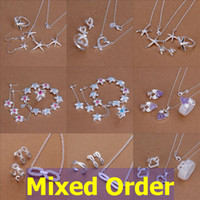 Wholesale Mixed Order Rings - Mixed Order Mixed Styles Fashion 925 Sterling Silver Plated Ring+Earrings+Necklace Jewelry Set #SET103