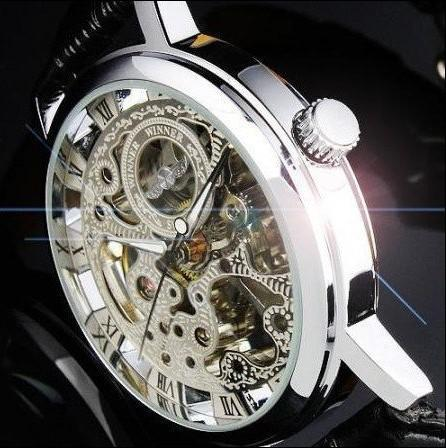 Hot Sale Silver Men's Manual Skeleton Mechanical Watch Wrist Hours Valentines Gift for men 60pcs DHL Free Shipping