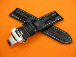 Wholesale Strap For Panerai - Luxury width 24mm Hornback Croc Deployment Mens Watch Black Leather Strap Bands Fit Pam Watches Series Fold Over Clasp Wristwatches