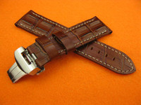 Wholesale Strap For Panerai - Brand New 24mm Hornback Croc Deployment Mens Watch Brown Leather Strap Bands Fit Pam Series Watches Fold Over Clasp Wristwatches