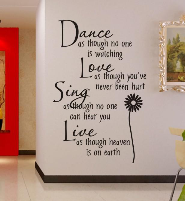 Dance As Though No One Is Watching Cm Wall Decal Quote - Dining room vinyl wall quotes