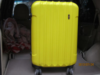 Wholesale 1 piece well built hard ABS fashionable trolley suitcase travel luggage box yellow inches