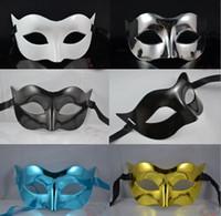 Wholesale Mixed Venetian Mask - Mens Mask Halloween Masquerade Masks Mardi Gras Venetian Dance Party Face The Mask Mixed Color #3702