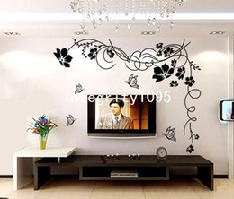 Wholesale Butterfly Vine Large - New Arrival Butterfly Vine Large Flower Wall Stickers Art Decal Floral Decoration Home Decal 5pcs lot Free Shipping