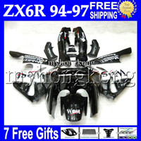 Wholesale Ninja Kawasaki Fairings 1996 - 7gifts custom For KAWASAKI NINJA ZX6R 94-97 Black white ZX-6R ZX 6R 94 95 96 97 MK#502 6 R West 1994 1995 1996 1997 Fairing Kit Bodywork