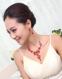 Wholesale Wholesale Jewelry Sets Purple - Colorful Jewelry Sets Bridal Flowers Accessories Crystal Necklace And Flowers Hanging Earring