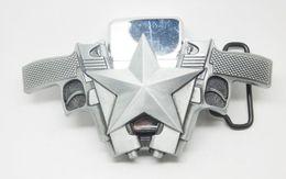 Wholesale Lighter Pistol Wholesale - Double Pistol STAR Removable Lighter Belt Buckle Guns Weapons