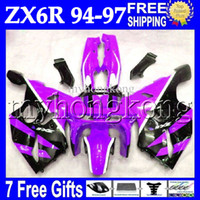 Wholesale 1995 Ninja Fairing Kit - 7gifts Bodywork For KAWASAKI NINJA ZX6R 94-97 Purple black 94 95 96 97 ZX-6R ZX 6R 6 R MK#529 1994 1995 1996 1997 Purple Full ! Fairing Kit