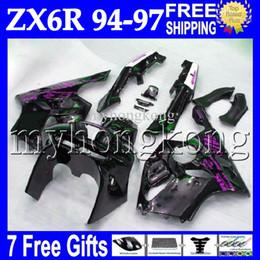 Wholesale Kit Fairings Kawasaki Zx6r 1995 - 7gifts NEW Black Bodywork For KAWASAKI NINJA ZX6R 94-97 94 95 96 97 ZX-6R ZX 6R 6 R MK#527 gloss black 1994 1995 1996 1997 Full Fairing Kit