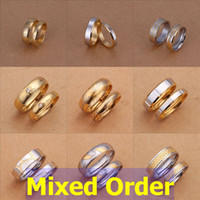 Wholesale Ring Gold Pair - Mixed Order 9 pair lot 6-10# Fashion Vogue 18K Gold Plated Engraved Stainless Steel Couple Band Rings #SET108