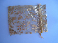 Wholesale Gift Bags For Wholesale Prices - low price 100pcs 9*12cm rose design golden Jewelry Box Luxury Golden Organza Jewelry Pouches Drawstring Pouch Gifts Bags For Wedding Gifts