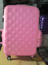 Wholesale Wholesale Carry Luggage - 1 SET High class hard ABS fashionable trolley suitcase travel luggage box Pink diamond style 20 24 28 inches