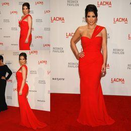 Vestito da promenade sirena kim kardashian online-ZSD-011 kim kardashian hot red sirena abiti da sera una spalla piega abiti in chiffon prom spedizione gratuita