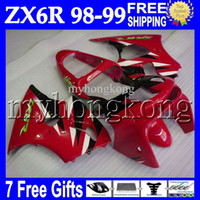 Wholesale Zx6r White Red - 7gifts For KAWASAKI 98-99 NINJA ZX6R ZX-6R ZX-636 98 99 Red black white 1998 1999 MK#649 body ZX 6R 636 6 R ZX636 red black Full Fairings