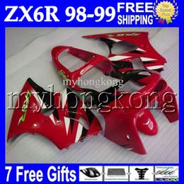 Wholesale Ninja Red - 7gifts For KAWASAKI 98-99 NINJA ZX6R ZX-6R ZX-636 98 99 Red black white 1998 1999 MK#649 body ZX 6R 636 6 R ZX636 red black Full Fairings