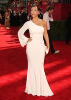 Wholesale Gossip Girl Inspired Prom Dresses - ZSD-013 kim kardashian red carpet gown white mermai one shoulder long sleeve evening dress Emmy Awards Gossip Girl