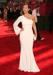 Wholesale Evening Gowns Emmy - ZSD-013 kim kardashian red carpet gown white mermai one shoulder long sleeve evening dress Emmy Awards Gossip Girl
