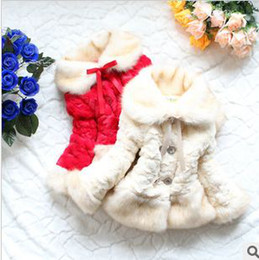 Wholesale Fur Lined Coats - 3pcs lot children spring winter faux fur coat outerwear fur collar fleece lining jackets for girls warm Fashion DesB-02