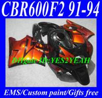 Wholesale Honda Cbrf2 - Fairing kit for HONDA CBR600F2 91 92 93 94 CBR 600F2 CBR600 CBRF2 1991 1992 1993 1994 orange black Motorcycle Fairings kit HG26