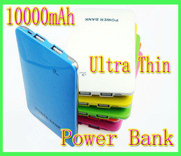 Wholesale Dual Slim Mobile Phone - Ultra Thin 10000mah Slim Dual USB Power Bank Battery For iphone 3G 4G 4 4S 5G 5 iPod Mobile Phone Power Bank