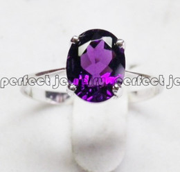 Wholesale Natural Amethyst Gemstone Rings - Natural real amethyst ring 925 sterling silver Orginal real purple crystal ring Free shipping Perfect jewelry DH#073119