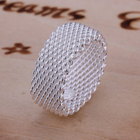 Wholesale mesh rings - New Fashion jewelry 925 silver mesh vogue rings beautiful charms rings size 6,7,8,9,10