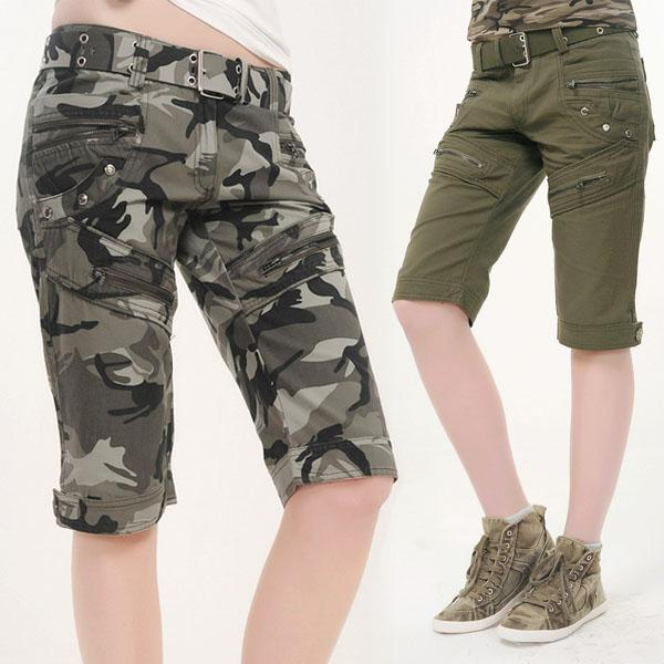 Online Cheap New Women Camouflage Cargo Shorts Army