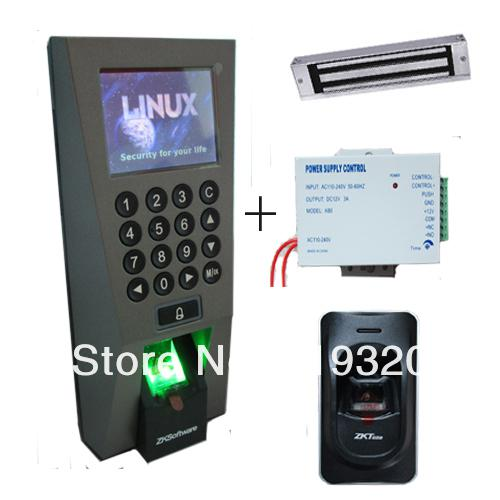 2019 Zksoftware F18 Fingerprint Access Control , 12V3A Power Supply,  Magnetic Lock, FR1200 Fingerprint Reader Access Control System From