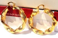 bükülmüş halka küpeler toptan satış-Ağır Büyük Twisted 14K Sarı Altın Bayan Hoop Küpe ÜCRETSİZ GÖNDERİM% 100 gerçek altın, değil katı değil para.
