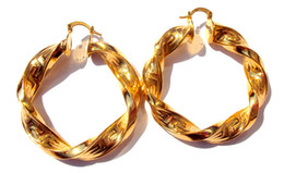 pendientes pesados Rebajas Heavy Big Twisted 24K oro amarillo Womens Hoop Earrings 100% oro real, no es sólido, no es dinero.